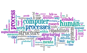 A wordle created from Doug Engelbart's 1962 report on 'Augmenting Human Intellect'